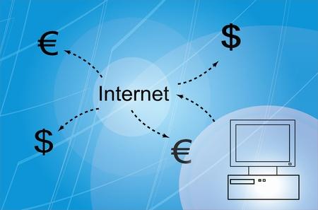 dolar: Azul de fondo de Negocios con las ganancias Foto de archivo