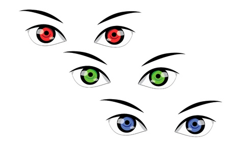 optical image: Vector illustration of colored eyes on white background