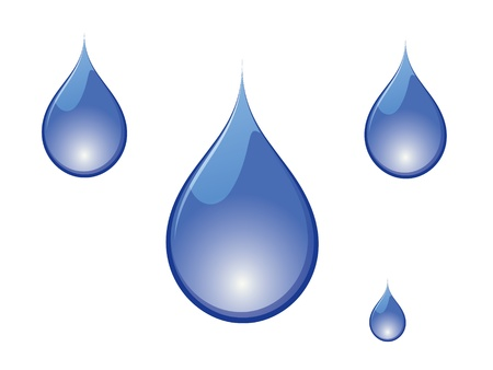 Vector illustration of blue water drops on white background. Vector