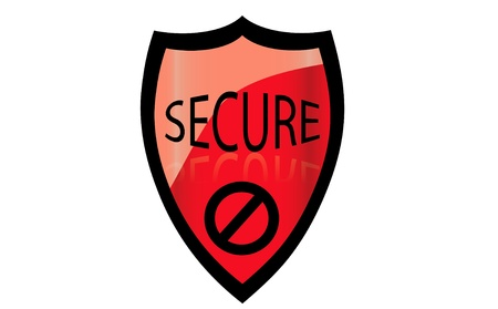 Vector illustration of firewall red denied shield. Vector