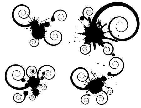 workpiece: Black  blot with spiral on white background.