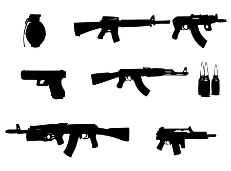 hijack: Collection of guns, bullets and grenade on white background.