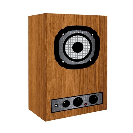 Wooden repro sound system on white background.