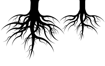 under ground: Icon of two undergrounds black roots on white background