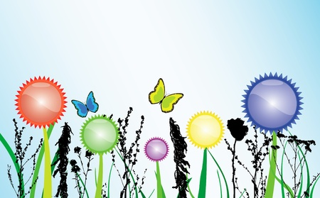 Spring theme withd colored flowers and butterfly photo