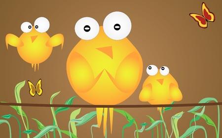 buterfly: Three birds in spring theme-vector illustration.