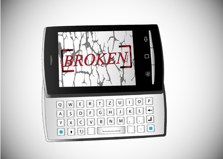 Illustration of broken phone on white background. Vector