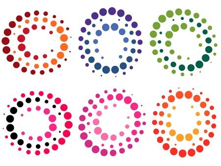 black dots: Collection of colored dot symbols - illustration Illustration