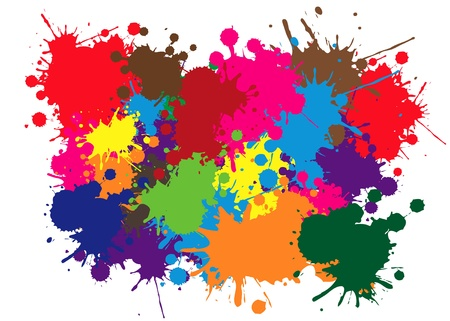 messy paint: Colored abstract blot background on white  background