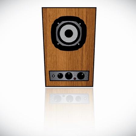 sound system: Madera reproducci�n de sonido en el fondo blanco.