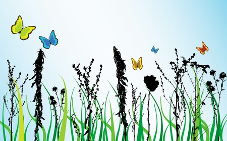 Spring theme withd colored flowers and butterfly Vector