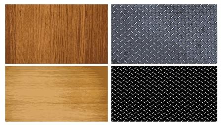 haltbarkeit: Sammlung von Holz und Metall Texturen - Illustration