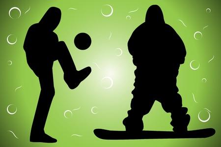snowboarder: Black sportsman silhoutte on green background - illustration Illustration