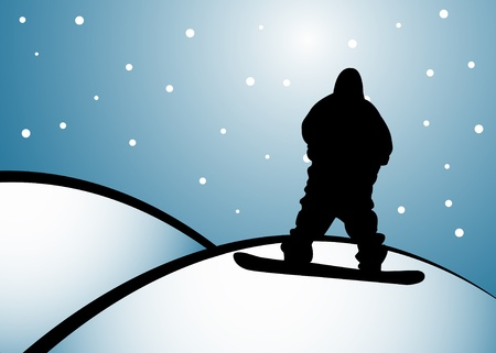 Black standing silhoutte of snowboarder on hill. Illustration
