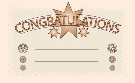 congratulations sign: Congratulations card in brown style with space for users text