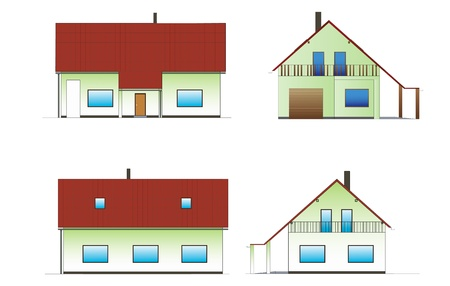 fictitious: Green fictitious house drawing on white background  Illustration