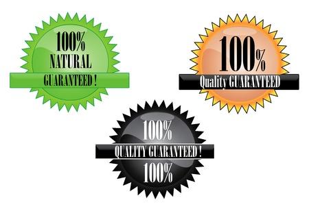 groupe: Three illustration of 100  quality guaranteed mark on white background
