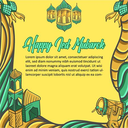Congratulations on Eid Al-Fitr Mubarak with hand drawings and Islamic background ornaments