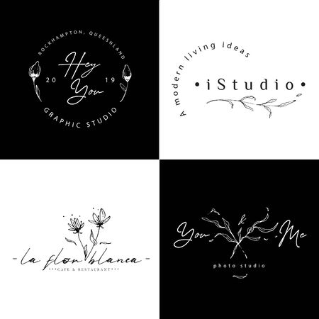 Outline Floral Logo with Black and White Background Ilustracja