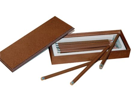 Open box with a lot number of pencils are ready to draw Stock Photo