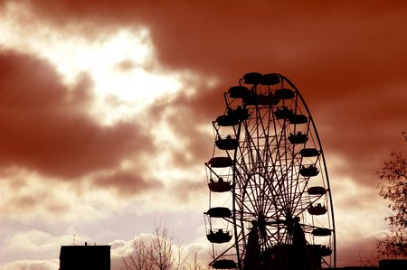 Devils wheel. Lets roll to hell. Stock Photo
