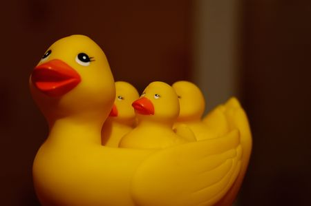 Yellow toy-duck and three its little ducklings