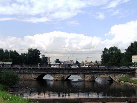 Old bridge over iset river in the center of Ekaterinburg city Stock Photo