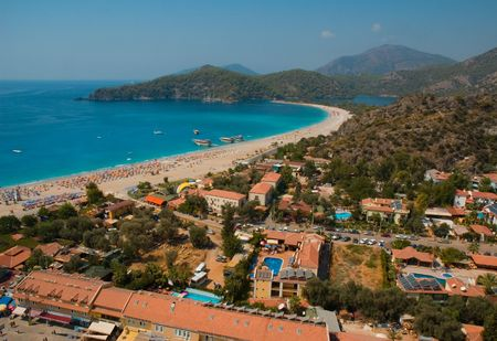 Aerial photography of the Mediuterranian sea coast near Oludeniz town, Turkey