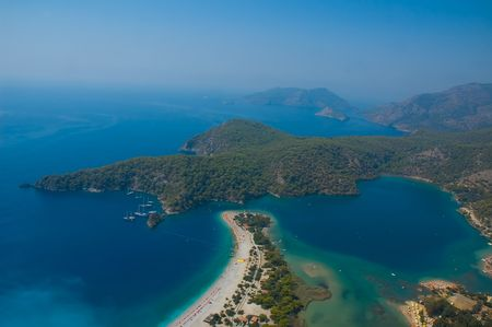 Aerial view on so called Azure Lagoon at the coast of the Mediterranean sea in Oludeniz, Turkey