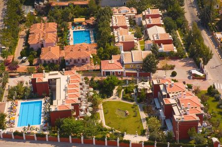 Aerial view on block of small  hotels with swimming-pools Stock Photo