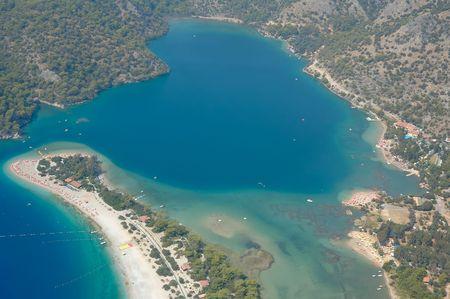 oludeniz: Aerial view on azure lagoon of the Mediterranean Sea