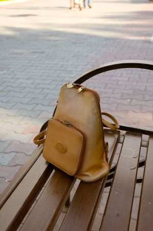 Photo of knapsack lost by an young lady on the bench