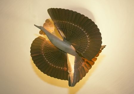 Photo of chandelier in form of hand-made wooden bird Stock Photo - 3428172