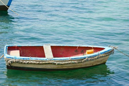 skiff: Photo of small wooden pulling boat