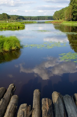 View on a small lake from wooden bridge Stock Photo - 3987687