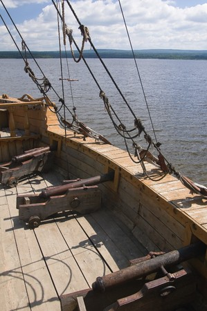 pirate crew: Photo of ship set at the deck of old sailing ship