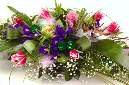 Zdjęcie bogate i piękne bukiety kwiatów różnych izolowanych na białym tle Zdjęcie Seryjne - 4113259