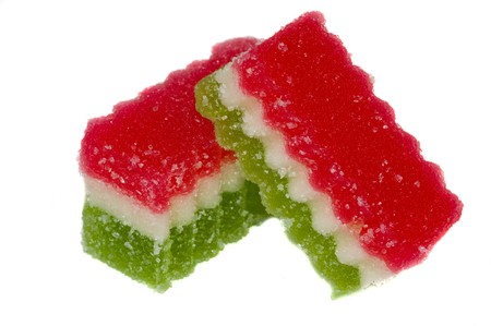 Photo of two pieces of three color fruit jelly