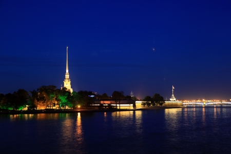 malaya: St  Petersburg  View of the Peter and Paul fortress at night, from the Spit of Vasilievsky Island  Stock Photo