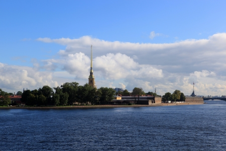 View of Rabbit Island and Paul Fortress with the Exchange Bridge  St  Petersburg, Russia  photo