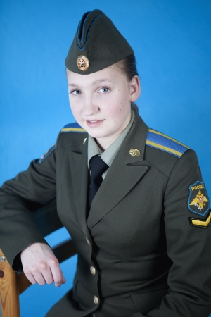 cadet blue: Girl student leaned back in his chair Stock Photo