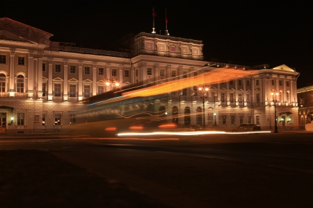 isaac s: Light trace of a passing trolley at the Mariinsky Palace autumn night  St  Petersburg, Russia