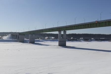 stasis: Road bridge over the river in the city Sukhona Tot ma, Vologda region, Russia Stock Photo