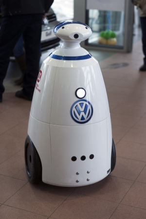 trading floor: The robot on the trading floor showroom  GermesAvto Vologda,  Russian