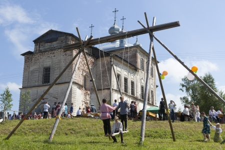blessed trinity: Patronal Feast of the Blessed Trinity in the village Shelota, Verhovazhskogo District, Vologda Region, Russia Editorial