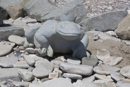 krasnodar region: The princess frog stone carving on the beach in Dederkoe Stock Photo
