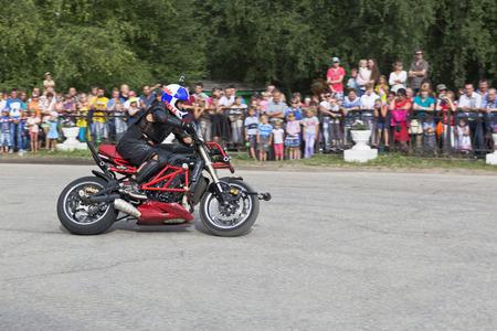 masterly: Motorcycle show in village Verkhovazhye, Vologda Region, Russia  Alexei Kalinin motorcycle accelerates
