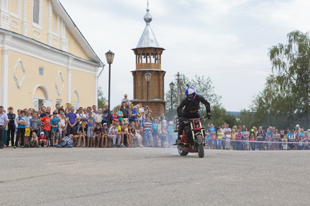 Motorcycle Show on Cathedral Square in Verkhovazhye, Vologda region, Russia Editorial