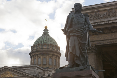 Monument to Barclay de Tolli at the Kazan Cathedral in St. Petersburg, Russia