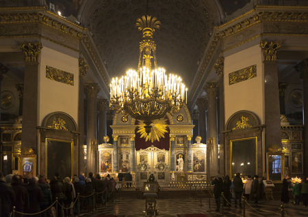 Queue to Kazan Mother of God. Kazan Cathedral in St. Petersburg, Russia